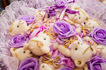 soft toys: Bouquet of soft toys Teddy bears with bows and lilac roses