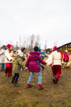 petrodvorets: Russian village Shuvalovka Petrodvorets district Saint-Petersburg, Russia, 13 March, 2016. Traditional Russian celebration of Maslenitsa in the Russian village of Shuvalovka