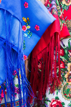 scarves: Russian factory painted multi-colored scarves Stock Photo