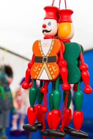 wooden doll: Wooden doll in Russian national souvenir shop
