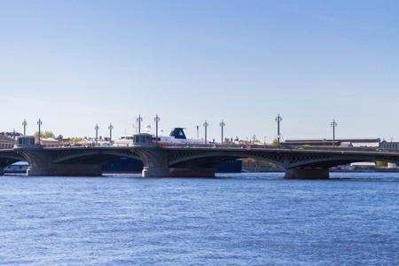 blagoveshchensky: Annunciation bridge, Saint Petersburg, Russia. May 7, 2016. The Blagoveshchensky bridge across the Neva river in St. Petersburg on a Sunny warm day.