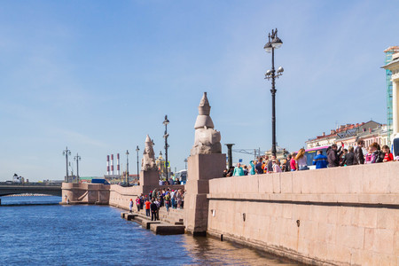 blagoveshchensky: University embankment, Saint Petersburg, Russia. May 7, 2016. Famous place with Sphinxes near Blagoveshchensky bridge in Sunny day.