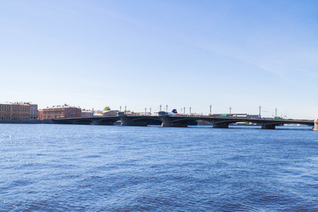 Annunciation bridge, Saint Petersburg, Russia. May 7, 2016. The Blagoveshchensky bridge across the Neva river in St. Petersburg on a Sunny warm day.