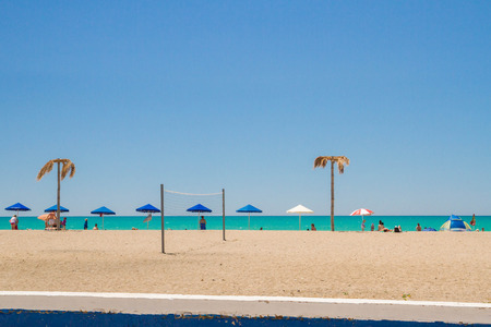 The beach of the Black sea in the Crimea in the summer Stock Photo