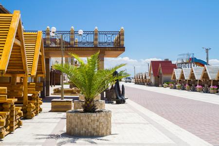 Evpatoria, Crimea, Russia, 17 Jun, 2016. Wooden houses, gazebo on the seaside promenade.