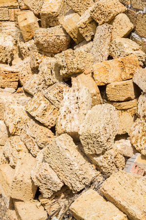 coquina: Natural material for the construction of coquina Stock Photo