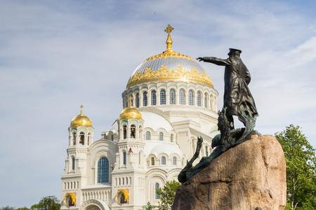 Kronshtadt, Saint-Petersburg, Russia, August 27, 2016. Naval St. Nicholas Cathedral in Kronstadt. Editorial
