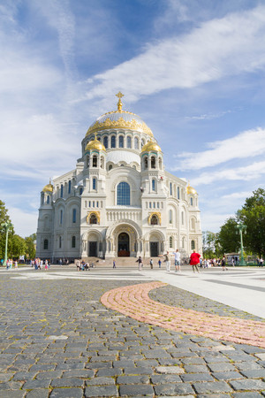 st petersburg: Kronshtadt, Saint-Petersburg, Russia, August 27, 2016. Naval St. Nicholas Cathedral in Kronstadt. Editorial