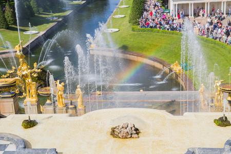 Peterhof, Saint-Petersburg, Russia, Jul 23, 2017. The famous Park of fountains in Peterhof in Saint-Petersburg