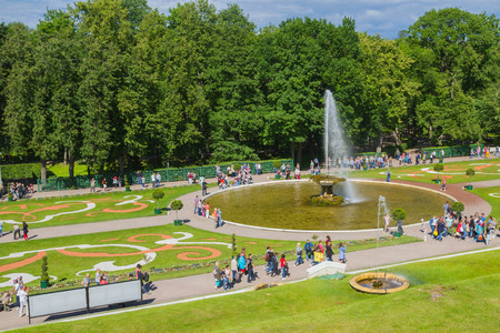 Peterhof, Saint-Petersburg, Russia, Jul 23, 2017. The famous Park of fountains in Peterhof in Saint-Petersburg