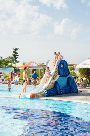 Water Park Banana Republic, Evpatoria, Crimea, Russia. September 4, 2017. The Banana Republic water Park on a hot Sunny day. Editorial