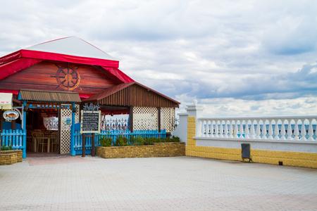 Evpatoria, Crimea, Russia, 30 August, 2017. The promenade by the black sea in Yevpatoriya, Crimea. Editorial