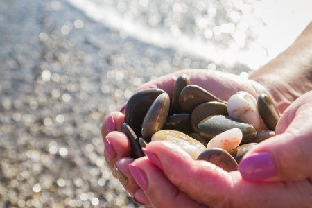 Sea stones in hands on the beach in the summer