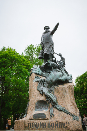 Kronshtadt, St. Petersburg, Russia, June 14, 2015. Monument to Admiral Stepan Osipovich Makarov in Kronstadt in the summer