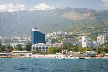 Yalta, Crimea, Russia, September 3, 2015. Waterfront Black Sea city of Yalta in Crimea