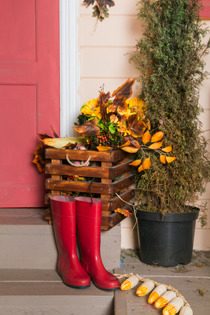 Red rubber boots in front of the house on the porch
