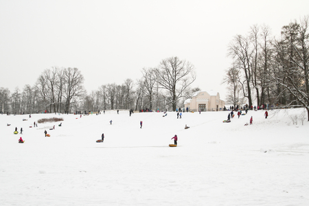 The Alexandria Park Of Petergof, Saint Petersburg, Russia. 21 Jan, 2018. Winter fun skating hills with snow on cheesecakes sleigh and snow Editorial