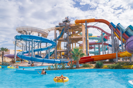Water Park Banana Republic, Evpatoria, Crimea, Russia. June 18, 2018. Banana Republic water Park on a summer day.