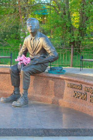 The town of Demidov, Smolensk oblast, Russia 08 may 2018. The monument to the famous Russian actor and comedian Yuri Nikulin Editorial