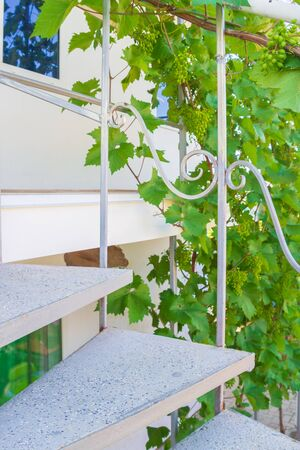 Gray spiral staircase at the private house in summer Stock Photo