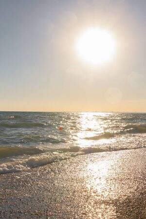 View of the black sea at sunset in summer