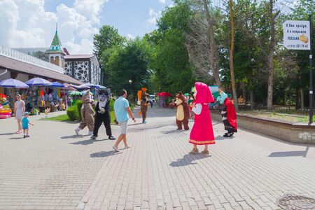 City Evpatoria Crimea Russia June 25, 2019 . People dressed in costumes dolls fairy-tale characters on the street of the city of Evpatoria in the Crimea in the summer.