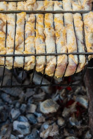 Chicken shish kebab on the grill is prepared on the grill