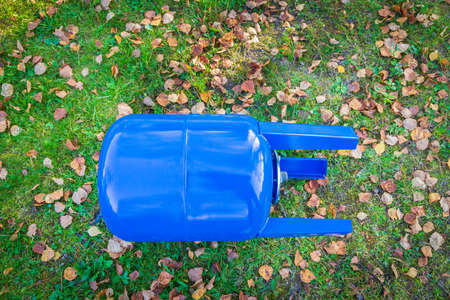 Blue metal water tank for 50 liters of water