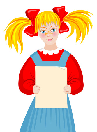 blond: Cute little girl whith blond hair holding sheet of paper