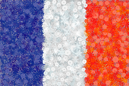 Flag of France with flowers