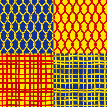 bind: Set of seamless patterns with ropes Illustration