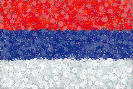 serbia: Flag of Serbia with flowers Illustration