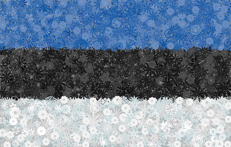 baltic: Flag of Estonia with flowers