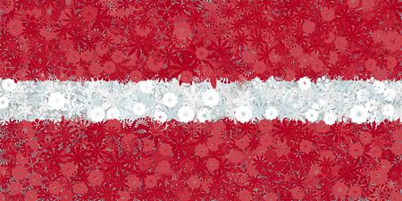carmine: Flag of Latvia with flowers