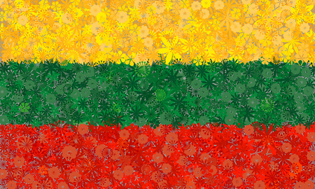 lithuania: Flag of Lithuania with flowers