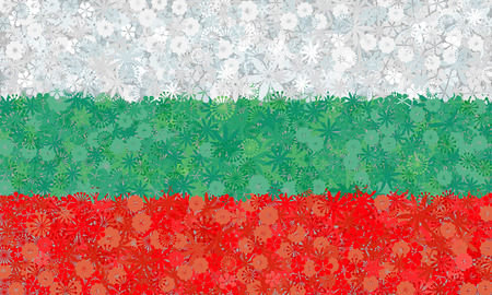slavonic: Flag of Bulgaria with flowers