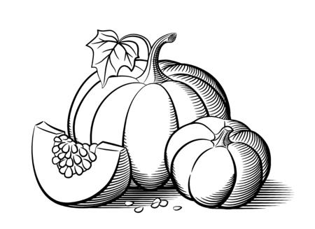 Stylized image of pumpkins. Big pumpkin, small pumpkin and pumkin slice with seeds. Outline