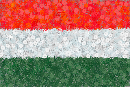 eastern europe: Flag of Hungary with flowers Illustration