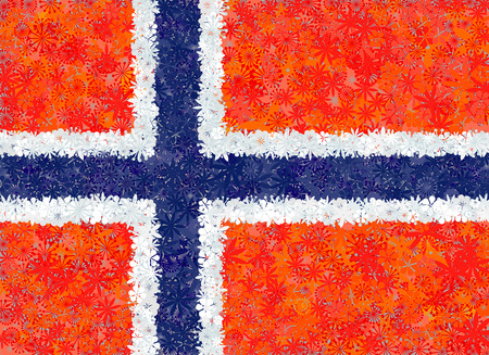 norway flag: Flag of Norway with flowers Illustration