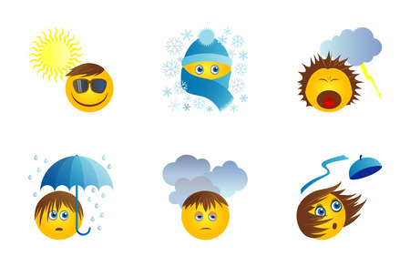 weather report: Six funny original icons with emoticons for weather report. Suny day, snow, storm, rain, cloads, wind. Vector set
