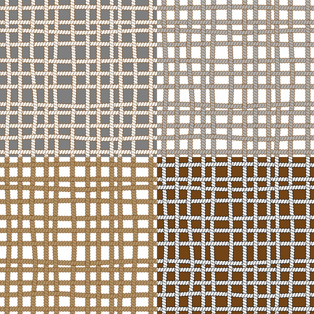 gray thread: Set of seamless patterns with ropes Illustration