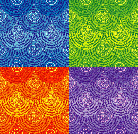 spiral binding: Set of vector seamless patterns with spiral rope ornament