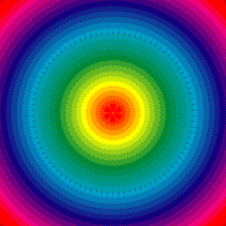 radial background: Rainbow radial background with hearts Illustration