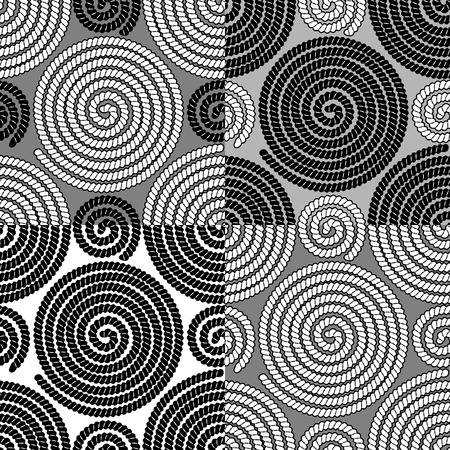 spiral cord: Set of seamless patterns with spiral rope ornament