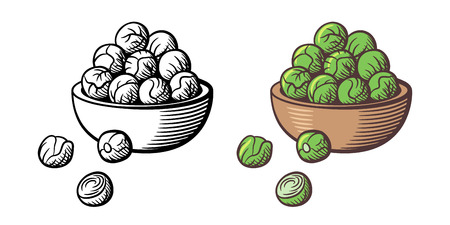 Bunch of brussels sprouts in a bowl