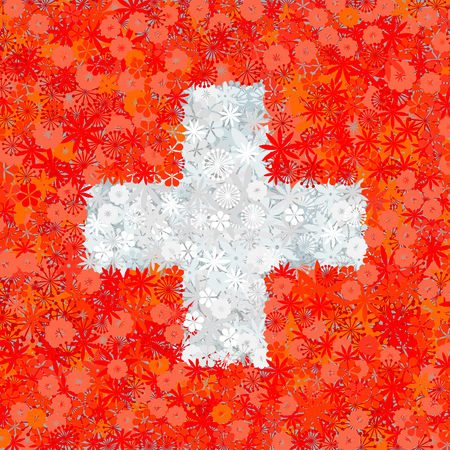 swiss flag: Swiss flag with flowers Illustration