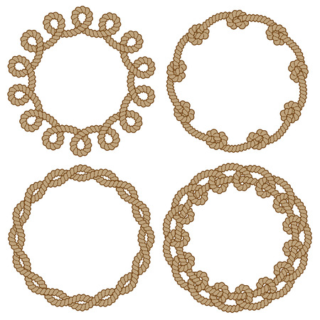 Set of four rope vector frames with knots and loops