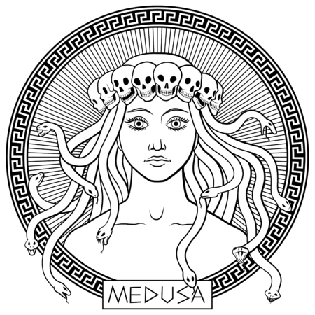 Portrait of ancient greek mythical character Medusa Gorgona in a crown of skulls. Hand-drawn black and white vector illustration Illustration