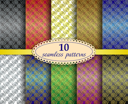 Set of ten abstract seamless patterns with wavy lines and spiral elements