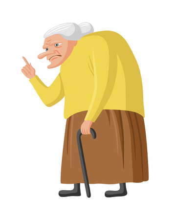 Grumpy granny with cane. Old lady waging her finger. Vector illustration, isolated on white Illustration